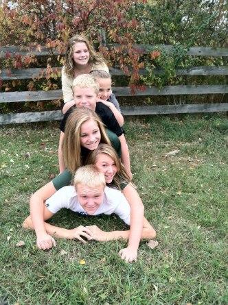 Bottom to top: Branden, Madi, Rayne, Mason, cousin Haley, Bella